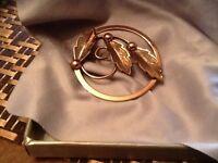Vintage Bell Copper Leaf Brooch