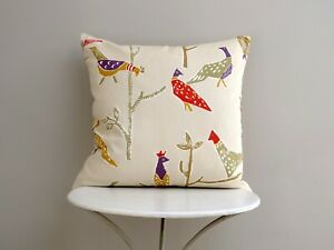 Scion Passaro Designer Cushion Cover Birds Terracotta/Natural Back Romo Stripe