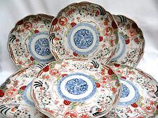 6 Pc. Antique 19th C. Signed Japanese Imari Hand Painted Porcelain Plates