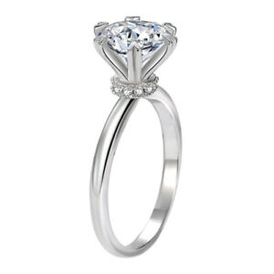 925 Sterling Silver 1.9 CT Simulated Diamond Wedding Promise Solitaire Ring