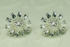 very pretty silver tone daisy sunflower stud earrings