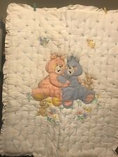 Baby Handmade hand tacked Blanket Quilt Pink & Blue Teddy Bear or Wall hanging
