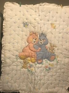 Baby Handmade yarn tacked Blanket Quilt Pink & Blue Teddy Bear or Wall hanging