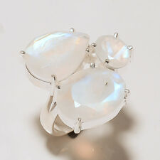 Rainbow Moonstone Ring 925 Solid Sterling Silver Handmade Jewelry Size 7.00US