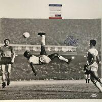 Autographed/Signed PELE Brazil Soccer 16x20 Photo Bicycle Kick PSA/DNA COA Auto