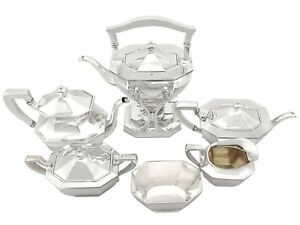 Queen Anne Style American Sterling Silver Six Piece Tea and Coffee Service