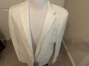 $2250 Samuelsohn  100% Wool   tuxedo jacket WHITE  HAND MADE IN CANADA 38 R