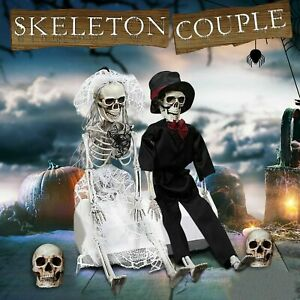 Large Poseable Full Life Size Human Couple Skeleton Prop Halloween Party Decor S