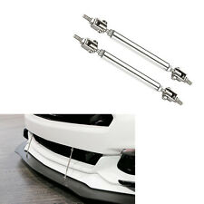 Silver Universal Car Front Bumper Lip Splitter Rod Strut Tie Bar Support Kit JDM