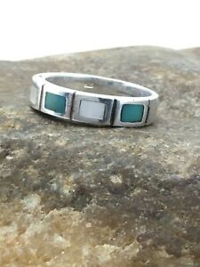 Navajo Sterling Silver Handmade Inlay Turquoise MOP Ring Sz 7 4481 Gift Sale