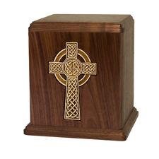 Wood Cremation Urn (Wooden Urns) - Walnut Celtic Cross