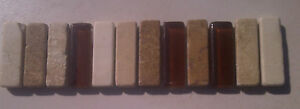 MARBLE and GLASS BORDER   4.5x20CM mesh mounted mosaic  £4.00 each