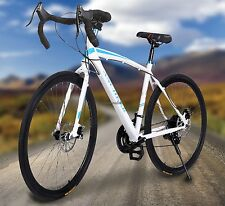 White Durable Carbon Steel Road Bike Commuter Cycling 21-Speed 700c Racing-Bike
