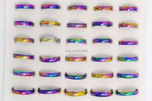 10pcs Lots Arc Narrow Titanium Colorful Stainless Steel Men Ring Band FREE