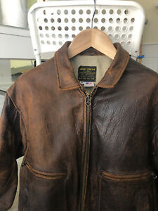 """Genuine """"AVIREX """" 100% HEAVY LEATHER DISTRESSED BROWN G-2  Bomber Jacket Size 46"""
