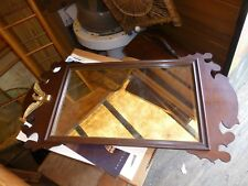 "Antique MAHOGANY WOOD Federal Style WALL HANGING MIRROR 32"" X 16"" VG !"