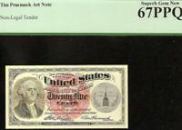 TIM PRUSMACK SIGNED MONEY ART NOTE FRACTIONAL CURRENCY PCGS GRADED GEM 67 PPQ