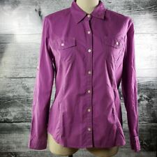 Tommy Hilfiger Women's Blouse Long Sleeves Buttons Down Purple Sz L 100% Cotton