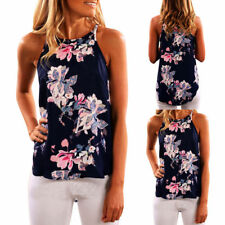 Womens Ladies Sleeveless Vest Tank Tops Summer Beach Floral Blouse Loose T Shirt