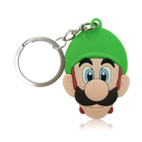 Super Mario Bros Luigi PVC Kawaii Cute Cartoon Novelty Keyring Keychain Gift Bag