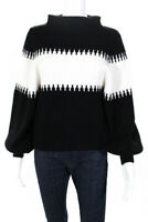 French Connection Womens Long Sleeve Turtleneck Sweater Black White Size XS