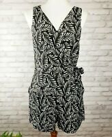 Ann Taylor Loft Size 6 romper shorts jumpsuit wrap top black white with pockets