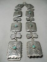 EXCEPTIONAL VINTAGE NAVAJO ROYSTON TURQUOISE STERLING SILVER CONCHO BELT OLD