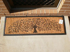 Tree of Life Wide Mat - Natural Coir on Recycled Rubber Backing Door Mat