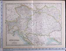 1915 LARGE MAP AUSTRIA-HUNGARY BOSNIA TYROL BOHEMIA GALICIA DALMATIA