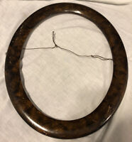 Antique Victorian Wood Oval Picture Fame Hand Painted Faux Burl Tortoise
