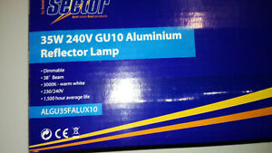 35W GU10 DIMMABLE REFLECTOR LAMPS.NEW BOXED.X 10.WARM WHITE.