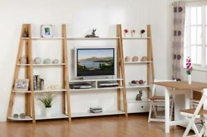 Dining and Display Range and Bookcase in Distressed Waxed Pine White
