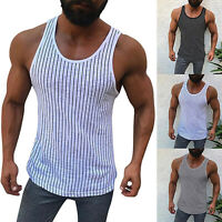 Mens Gym Muscle Bodybuilding Tank Tops Striped T-shirts Sports Fitness Vest Tees
