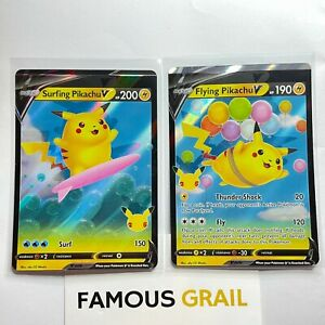 Surfing & Flying Pikachu V 008 & 009 /025 Pokemon Celebrations *MISPRINT ERROR*
