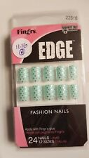 Fing'rs Edge FASHION NAILS #22516 (green and gold harts) 24 Nails/ UÑAS