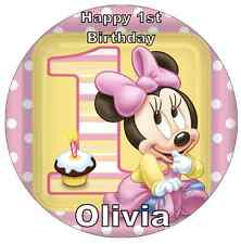 "Minnie Mouse 1st Birthday Personalised Cake Topper 7.5"" Edible Wafer Paper"