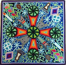 "16"" Mexican Huichol Peyote yarn painting 40 - 001"