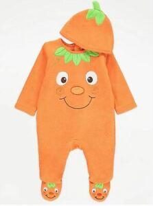 Baby Halloween Sleepsuit Pumpkin All in One Hat Orange Outfit Costume George