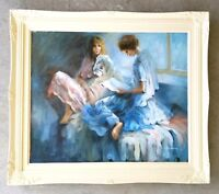 Vintage Original Oil Painting Expressionist Portrait Girls Sitting in Pajamas