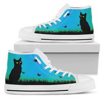 Black Cat and Butterflies - Women's High Top Shoes