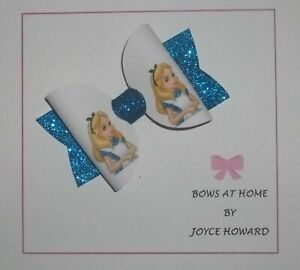 (5T) HANDMADE  HAIR BOWS -  GLITTER AND  LEATHER - ALICE IN WONDERLAND