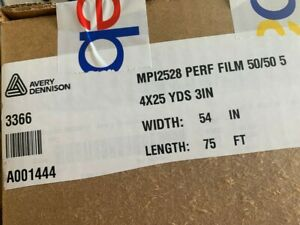 Model 3366 Avery HP MPI 2528 Perforated 50/50 Window Film 54 in x 25 yds new