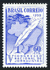 Brazil 755, MNH. 5th National Congress of Journalism. Quill pen, Map, Tree, 1953