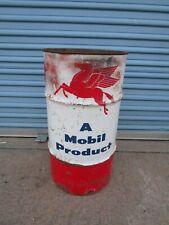 Vintage Mobile oil can bucket trash can garage waste basket service station