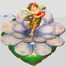 Vintage Valentines Day Card 3D Stand-up Display CUPID IN FLOWER MINT Shackman
