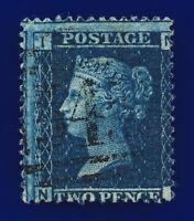 1858 SG45 2d Blue Plate 9 LC Type II G2 NI Misperf Newcastle GU Cat-FU £25 cdzm