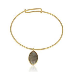 18k Gold Plated Silver Labradorite Gemstone Party Wear Designer Bangles