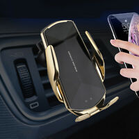 Q1 Automatic Clamping Qi Wireless Car Charger Mount Air Vent Cell Phone Holder