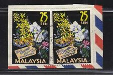 MALAYSIA 1963 25 SEN ORCHID CONF. 2 STAMPS USED IN SINGAPORE POSTMARK 12 NOV. 63