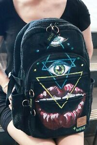 Hemp backpack - Hand painted - Fare trade - Large